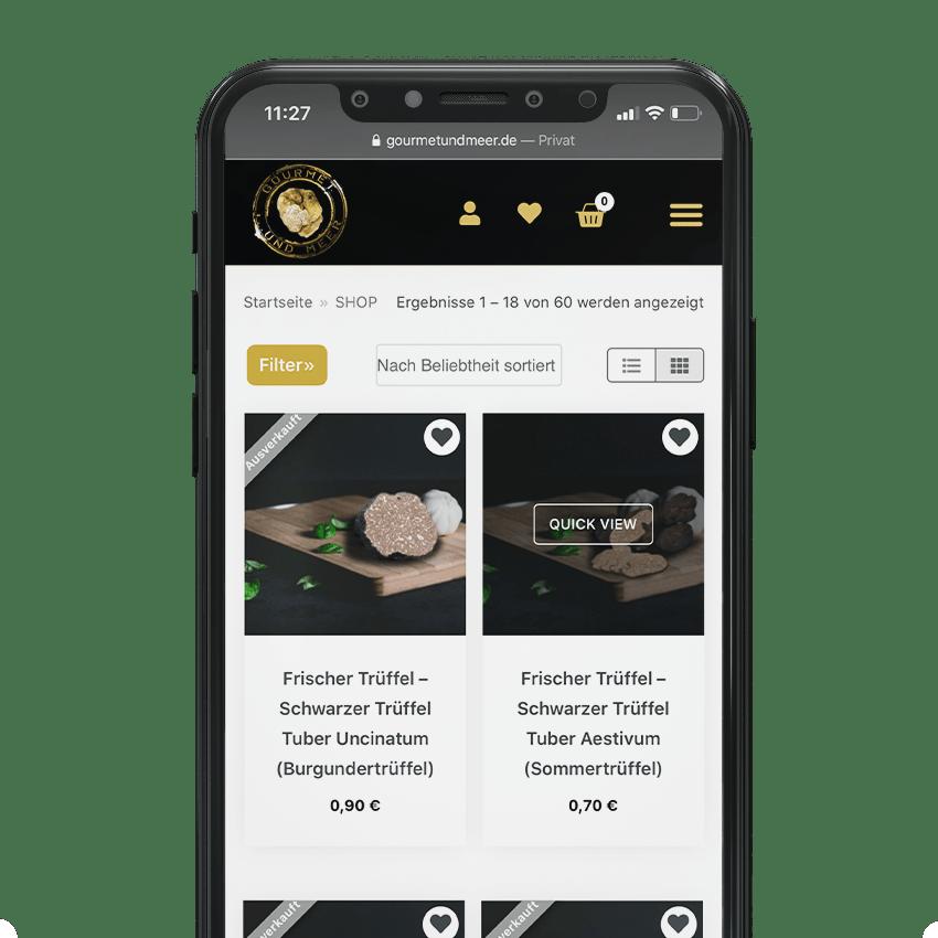 Trüffelshop - Onlineshop für Lebensmittelverkäufer, Einzelhandel Webshop Agentur